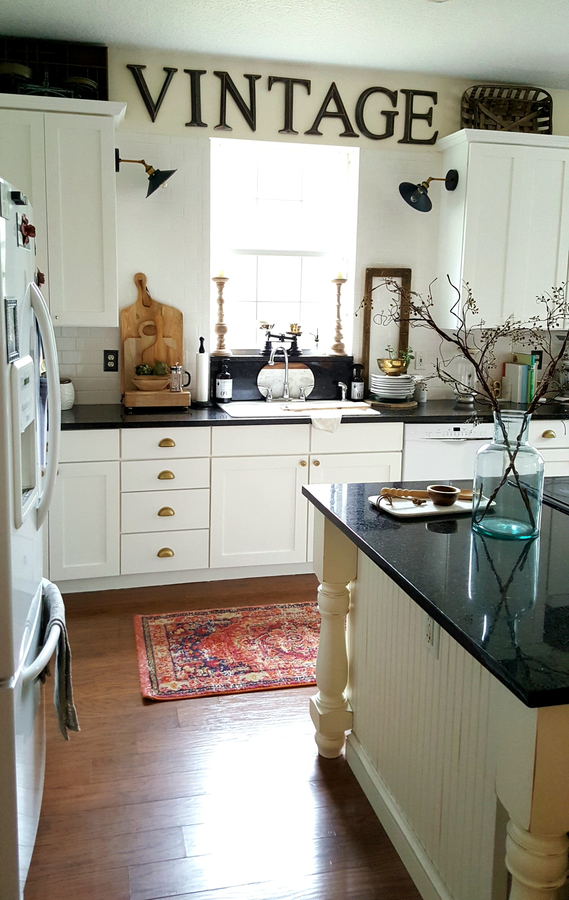 White Kitchen Rug Cabinets Full Shot Bees N Burlap