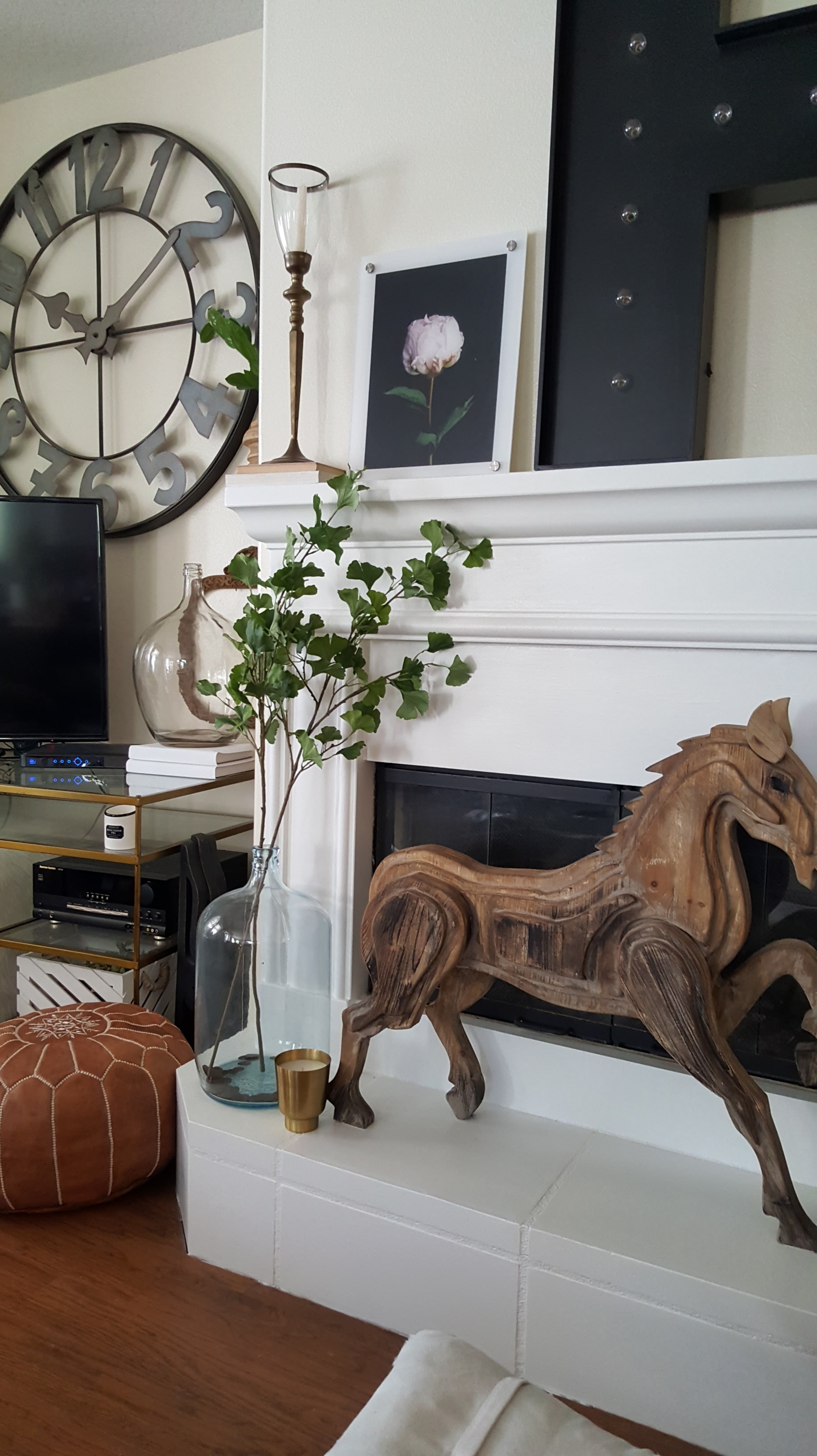White Wood Living Room Neutral Decor Industrial Scandinavian - Eclectic Collected Vintage Modern Home Tour