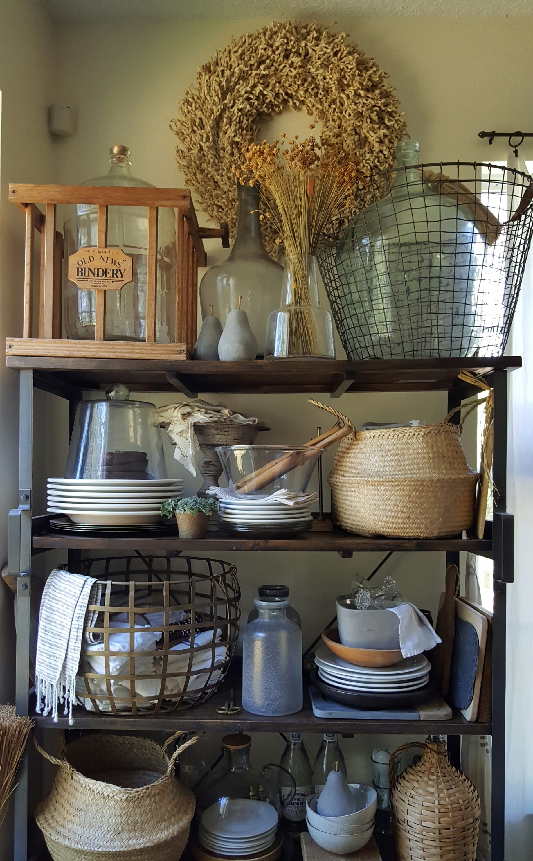 Eclectic Collected Vintage Modern Home Tour - One Room Challenge White Kitchen Makeover - Open Farmhouse Shelves Decor