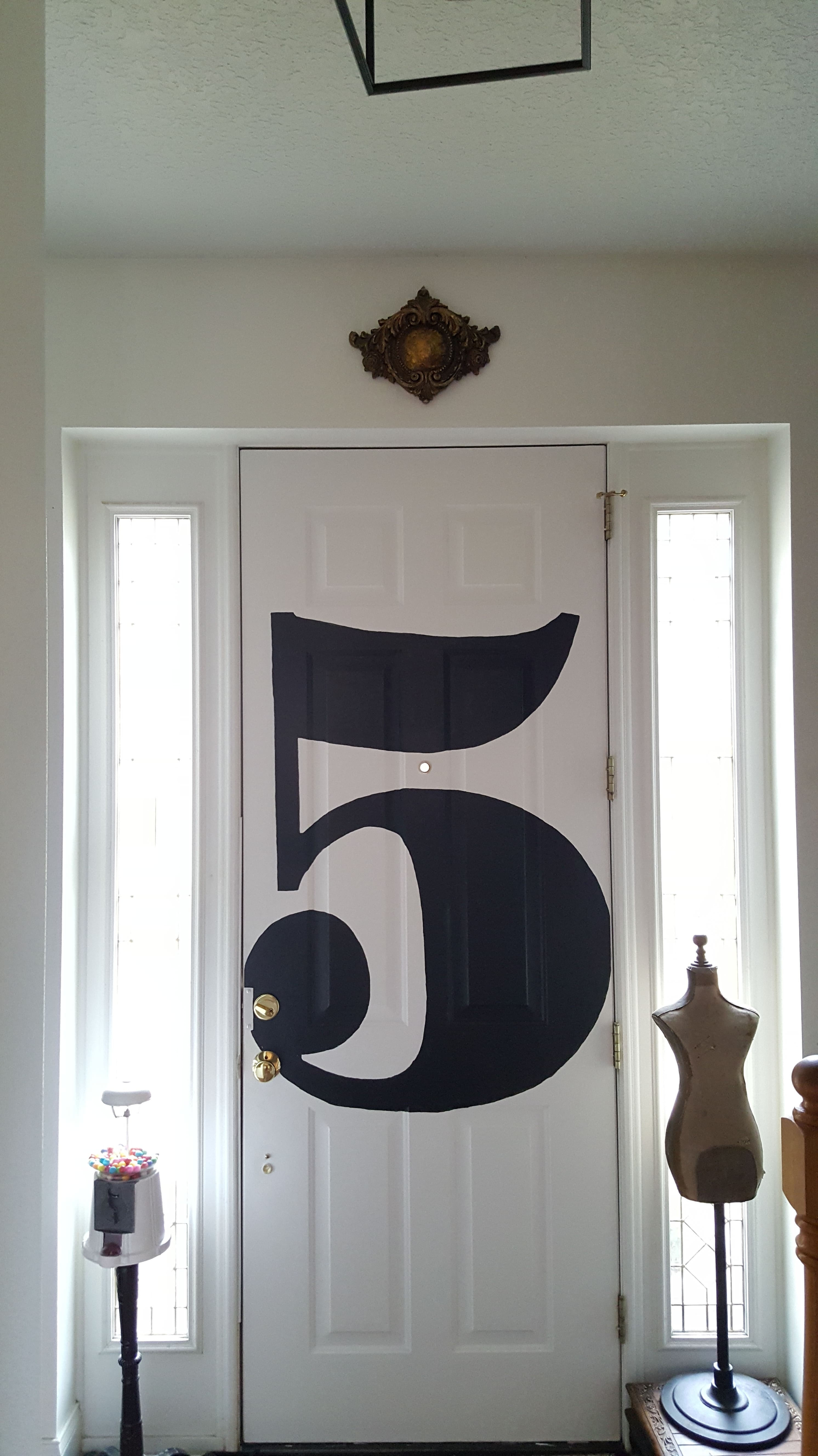 Eclectic Collected Vintage Modern Home Tour - Black and white door decor painted typography number